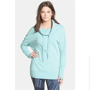 Zella Cherished Too Cowl Neck Blue Tunic Pullover